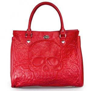 LOUNGEFLY Red on Red Embroidered SKULL TOTE Bag!